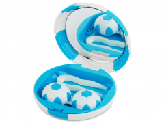 """Caixa com espelho para lentes """"Futebol"""" - Azul"""