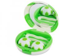 """Caixa com espelho para lentes """"Futebol"""" - Verde"""