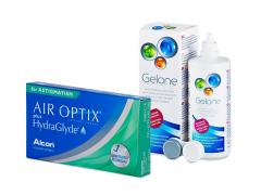 Air Optix plus HydraGlyde for Astigmatism (3 lentes) + Solução Gelone 360 ml